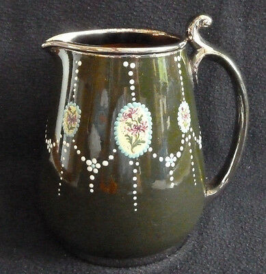 Large Vintage Pottery Jug Enamel Hand Painted Floral Decoration Metal Rim Green