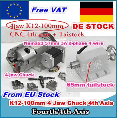 DE K12-100mm Rotation axis/ 4th Axis 4 Jaw Chuck & 65mm Tailstock For CNC Router