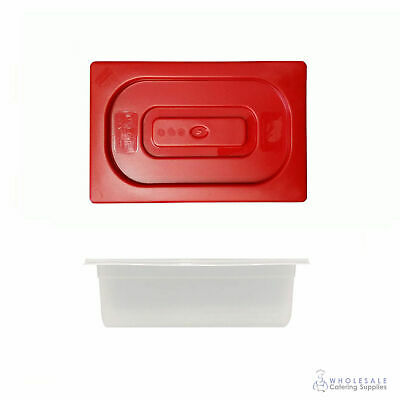 12x Food Pan with Red Lid 1/4 GN Size 100mm Deep Polypropylene Gastronorm