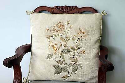 "Vintage Needlepoint Petitpoint Cushion Cream Roses on White  14"" Sq with pad 2"