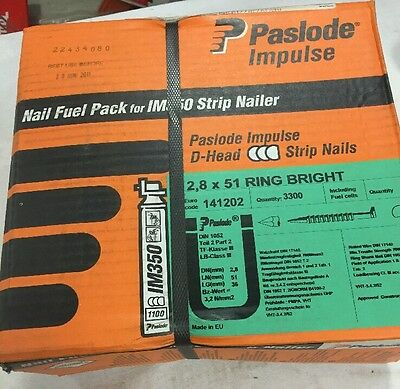 Paslode 141202 2.8mm x 51mm RG BR Nail Fuel Pack (3300 per box + 3 fuel cells)