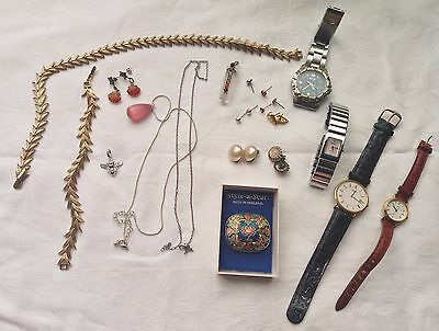 Lot Of Jewellery Lanco,citizen Watches Silver Pendants Scarf Clip