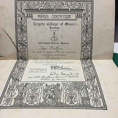 1906 TRINITY COLLEGE of MUSIC London Pupils Certificate
