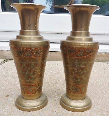 Pair of vintage indian brass vases with engraved pattern