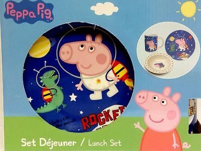 Peppa Pig George Space Breakfast Lunch Dinner 3 Piece Ceramic Set - New Boxed!