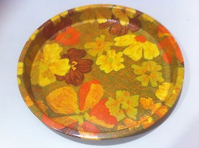 Vintage Retro Funky Kitsch 1970s Floral metal round drink serving tray .VGC