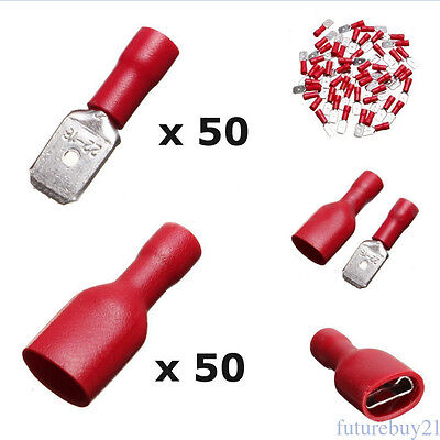 100X Insulated Wire Spade Crimp Connector Terminal Male/Female Red Color Quality