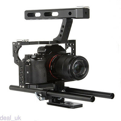Black Camera Rod Rig Video Cage +Top Handle Grip + Follow Focus for Sony A7/R/S