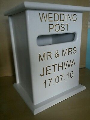 *personalised Handmade Post Box Wedding Birthday Christening Card Holder Wooden