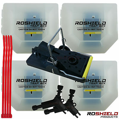4 x Roshield Mouse / Mice Trap Snap Box - Safe for children and pets - Lockable