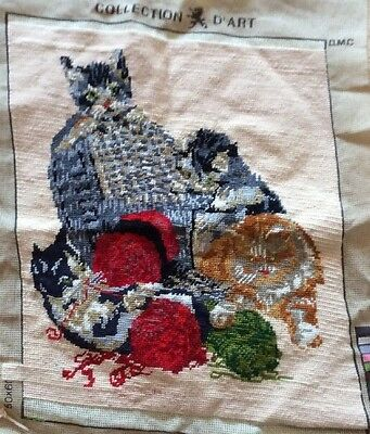 Finished Tapestry Kittens Playing With Wool, Seat Cushion Cover