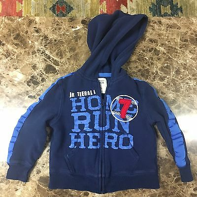 Old Navy Toddler Boys Sweatshirt Size 3t Blue Zippered Hoodie Kid Baby Clothing