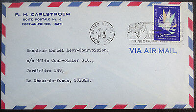 United Nations stamp on air mail envelope, with UN postmark. 1967