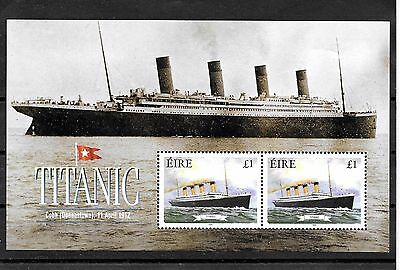 Ireland , MNH 1999 Titanic MS with 2 x €1 stamps
