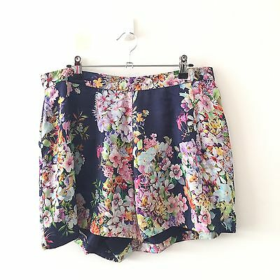 Forever New Womens Shorts 16 XL floral blue white pink casual summer yellow