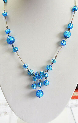 1930s Art Deco Vintage Blue Glass Necklace with Foiled Beads