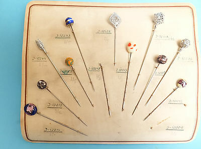 11 x BEAUTIFUL GENUINE ANTIQUE HATPINS ON MANUFACTURERS SAMPLE CARD.