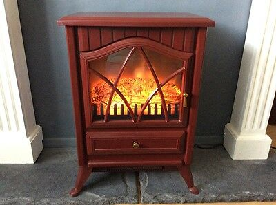 Electric stove fire, log effect, deep burgundy