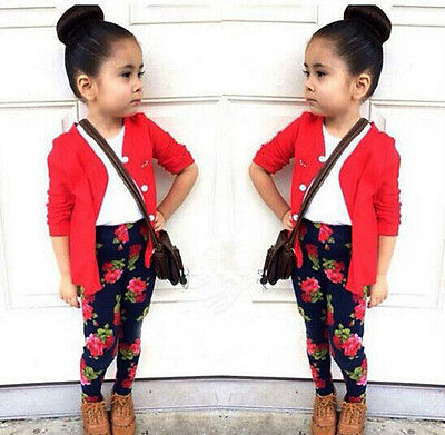 3X Baby Girls Red Coat + White T-Shirt + Floral Pants Set Kids Dress Outfits GO