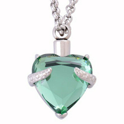 """Mint green crystal heart cremation ashes keepsake pendant with 16"""" 925 chain"""