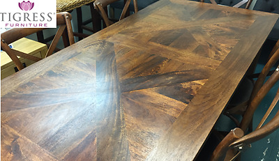 "180cm ""Chelmsford"" Parquetry Solid Hardwood Timber Dining Table"