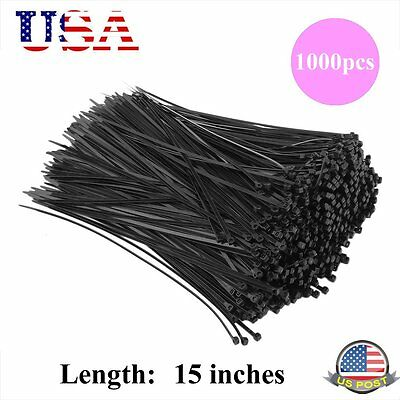 "1000 Black Zip Ties Heavy Duty 15"" 50 lbs Cable Cord Strap Wire Nylon Wrap Bulk"