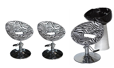 Black Zebra Backwash Shampoo Unit Salon Styling Hairdressing Barber Chair BSW3Z