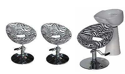 Black Zebra Backwash Shampoo Unit Salon Styling Hairdressing Barber Chair WSW3Z