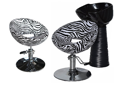 Black Zebra Backwash Shampoo Unit Salon Styling Hairdressing Barber Chair BSB2Z