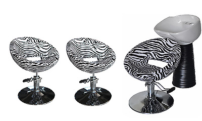 Black Zebra Backwash Shampoo Unit Salon Styling Hairdressing Barber Chair WSB3Z