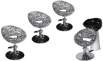 Black Zebra Backwash Shampoo Unit Salon Styling Hairdressing Barber Chair BSW4Z