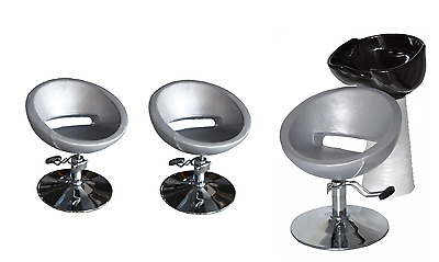Black Silver Backwash Shampoo Unit Salon Styling Hairdressing Barber Chair BSW3S