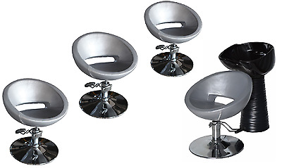 Black Silver Backwash Shampoo Unit Salon Styling Hairdressing Barber Chair BSB4S