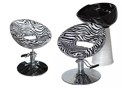 Black Zebra Backwash Shampoo Unit Salon Styling Hairdressing Barber Chair BSW2Z