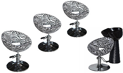 Black Zebra Backwash Shampoo Unit Salon Styling Hairdressing Barber Chair BSB4Z