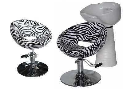 Black Zebra Backwash Shampoo Unit Salon Styling Hairdressing Barber Chair WSW2Z