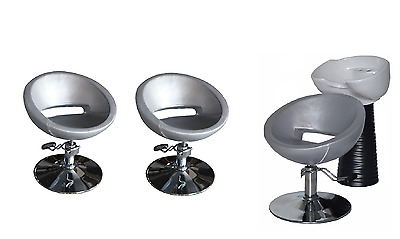 Black Silver Backwash Shampoo Unit Salon Styling Hairdressing Barber Chair WSB3S