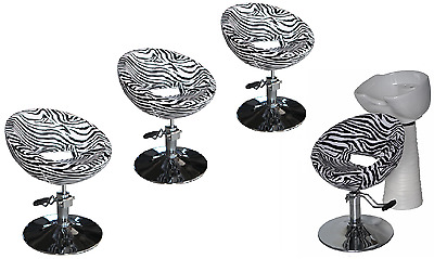 Black Zebra Backwash Shampoo Unit Salon Styling Hairdressing Barber Chair WSW4Z