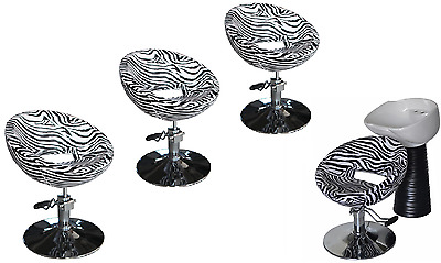 Black Zebra Backwash Shampoo Unit Salon Styling Hairdressing Barber Chair WSB4Z