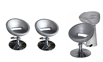 Black Silver Backwash Shampoo Unit Salon Styling Hairdressing Barber Chair WSW3S