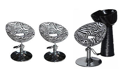Black Zebra Backwash Shampoo Unit Salon Styling Hairdressing Barber Chair BSB3Z