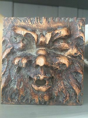 18th Century Carved Walnut Green Man Ceiling Boss Panel