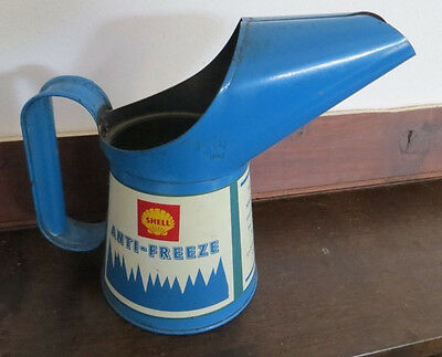 latta shell  vintage oil gasoline tin can pourer