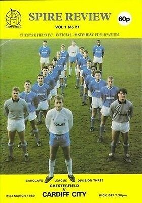 Chesterfield (Home club) Cardiff City 21/03/89 (Saltergate) football programme