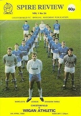 Chesterfield (Home club) Wigan Athletic 04/04/89 (Saltergate) football programme