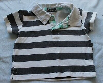 Love Henry Polo Shirt Size 0 Grey White Stripe Green Trim Cotton