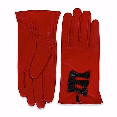 LINDYBOP Beau Red Black Triple Bow Lined Gloves 100% Genuine Soft Leather L