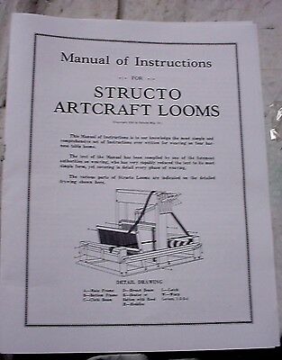 1930 Instruction Manual for Structo Artcraft Tabletop Weaving Loom
