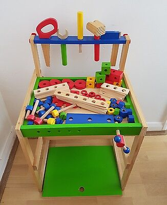 Wooden Baby Toddler Toy Activity Montessori Sensory Work Bench Tools Nuts Bolts