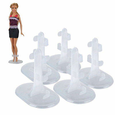5Pcs White Doll Stand Support Display Holder Accessories Plastic For Barbie New